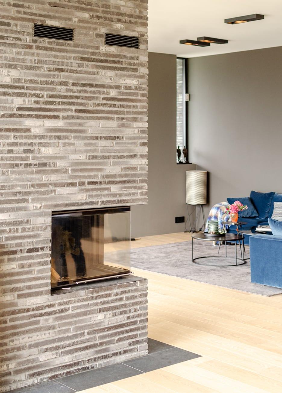 Lier, bolig, stue og peis, Driv Arkitekter